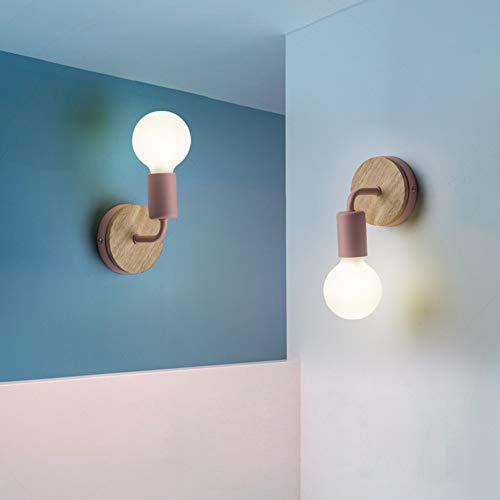 JINYU Retro industriale rustico lampada da parete in metallo illuminazione E27 per decorazione di casa bar ristoranti caffè club (senza lampadina),Decorazione in legno di quercia, Rosa, 2 PACK