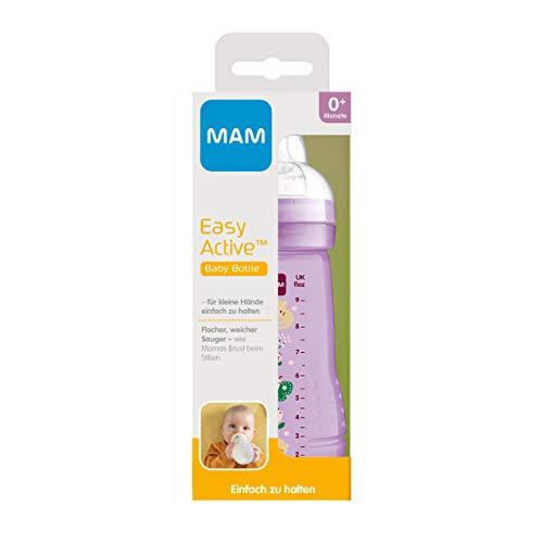 MAM Easy Active Trinkflasche (270 ml), Baby Trinkflasche inklusive MAM Sauger Größe 1 aus SkinSoft Silikon, Milchflasche mit ergonomischer Form, 0+ Monate, Katze/Schmetterling