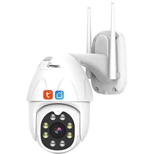 Tuya Smart Life Cámara IP WIFI, cámara PTZ domo de velocidad de seguridad con seguimiento automático impermeable IP66 para exteriores, vigilancia CCTV de visión nocturna 1080P