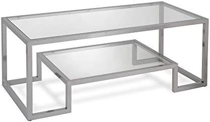 Best Henn&Hart Modern Geometric-Inspired Glass Coffee Table, One Size, Silver