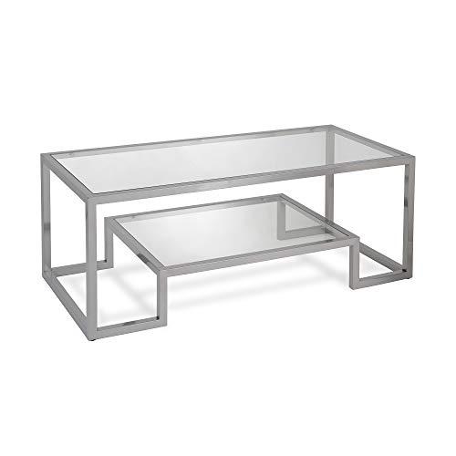 Henn&Hart Modern Geometric-Inspired Glass Coffee Table, One Size, Satin Nickel,CT0065