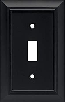Architectural Single Toggle Switch Wall Plate / Switch Plate / Cover Flat Black Packaging May Vary