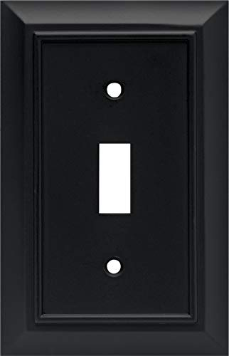 Architectural Single Toggle Switch Wall Plate / Switch Plate / Cover, Flat Black, Packaging May Vary