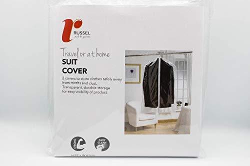 Russel Storage - Set de 2 Housses de Protection pour Vêtements - Transparente - 97 x 61 cm