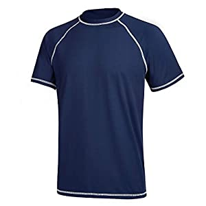 Men's UPF 50+ Rashguard Swim Tee Short Sleeve Sun Shirt Swimwear Swim Shirts