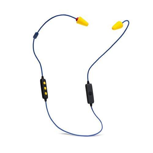 Plugfones FreeReign VL - Auriculares inalámbricos Bluetooth in-ear con reducción de ruido con micrófono y controles aislantes de ruido, color azul y amarillo