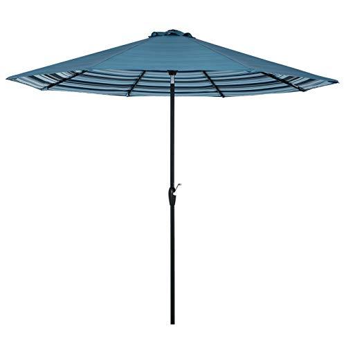 Tempera 10 ft Auto-Tilt Patio Umbrella Outdoor Patio Market Umbrella - 8 Steel Ribs - Dual Blue