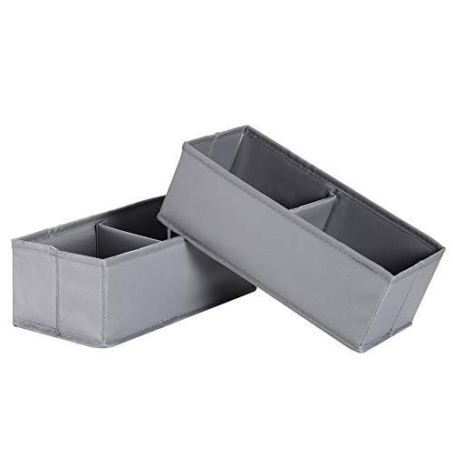 IHOMAGIC Aufbewahrungsbox Stoff 2er Aufbewahrungskorb Klein Stoffkisten Aufbewahrung Kinderzimmer Aufbewahrungskisten Faltbox 2 Fächer Faltbare Stoffbox für Regal Schrank Ordnungssystem 13x28x10cm