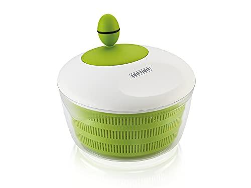 Leifheit Essoreuse à salade en plastique Trend, mécanisme d'essorage à manivelle, bouton ergonomique, utilisable comme saladier ou passoire, blanc et vert