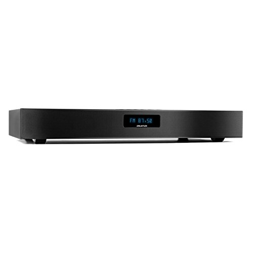 auna Stealthbar 50 - Soundbar , sistema audio 2.1 , potenza 100 watt di picco , Bluetooth , sintonizzatore DAB+/FM , ingresso digitale ottico , 2 x Cinch , Display LCD , telecomando , nero