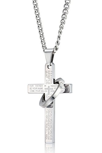 sailimue Stainless Steel Cross Necklace for Men Women Chain Necklace Lords Prayer Pendant,24 inches,Silver-Tone