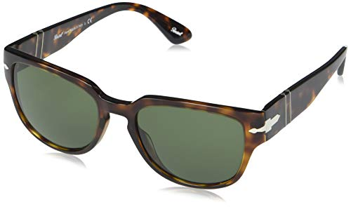 Persol PO3231S Square Sunglasses, Havana/Green, 54 mm
