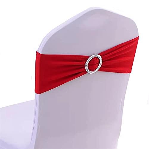 Fajas elásticas de licra para silla con lazos de hebilla, bandas elásticas universales para bodas, fiestas, hoteles, banquetes, eventos (rojo, 10)
