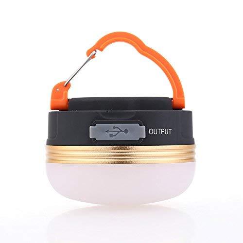 Olliown - Lampada da Campeggio LED Ricaricabile Tramite Porta USB, Batteria Ricaricabile da 1800 mAh, 800 lm, Mini Lampada Tascabile Impermeabile e Portatile, per Escursionismo, Pesca, Campeggio