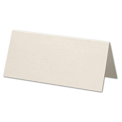 ARTOZ 50x Tischkarten - Ivory-Elfenbein (Creme) - 45 x 100 mm blanko Platz-Kärtchen - Faltkarten für Festliche Tafel - Tischdekoration - 220 g/m² gerippt