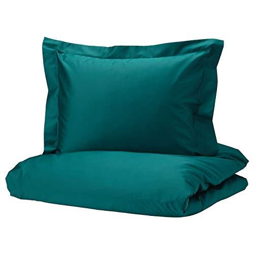 IKEA (イケア) LUKTJASMIN ルクトヤスミン 掛け布団カバー&枕カバー(枕カバー2枚) ダークグリーン 004.329.28