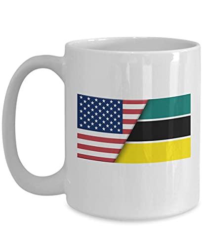 Weiße Kaffeetasse mit USA-Mosambike-Flagge
