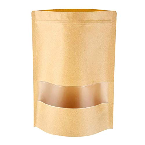 """Emoly Upgraded 50 Pcs Stand Up Kraft Paper Bag, Reusable Zip Lock Sealing with Notch Matte Transparent Window Bags, All Purpose Storing Food Storage (5.5"""" x 7.8"""")"""
