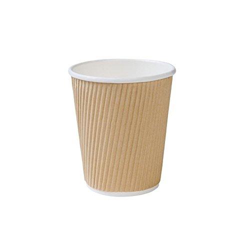 BIOZOYG 500 Stück Riffelbecher to Go Pappbecher aus braunem Kraftkarton I Umweltfreundliche Kaffee Trinkbecher Einweg Bio unbedruckt 200 ml / 8 oz I 100% biologisch abbaubar, kompostierbar