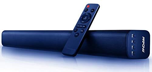 Mpow Barra de Sonido HD Canales 2.0, 40W Altavoz Bluetooth para TV, Bass+, Estéreo DSP, Bluetooth 5.0, Conexión con HDMI/Optical/AUX/RCA/USB, Incluido Control Remoto, Colgante al Pared (Rojo)