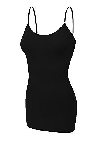 Emmalise Clothing Women's Basic Casual Plain Long Camisole Cami Top Tank, Black, XXX-Large