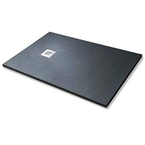 Douchebak SIMIL-STONE zwart 80 x 140 cm natuursteen