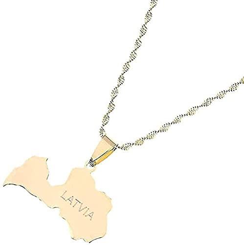 NC134 Collar Mapa de la Isla de Moda de Barbados Collar de Moda y símbolo de la Bandera Collares con Colgante Color pequeño Acero Inoxidable Dorado Mapas de Barbados Joyería Regalos