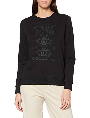 Scotch & Soda Maison Womens Artwork Baumwollmischung mit Rundhalsausschnitt Sweatshirt, 0008 Black, M