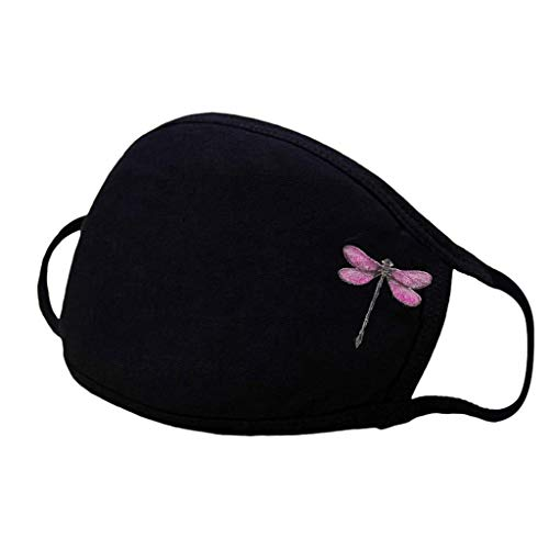 Bluego 1PC Women Washable Fashion Disposable Dragonfly Face Mask Cotton Dust-Proof and Windproof Breathable Comfortable and Soft Ear-Loop Mask Outdoor (Pink)