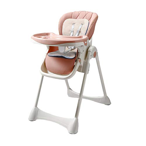 NSWDC Trona para bebé, Trona para bebé/con Bandeja Doble extraíble y arnés de Seguridad de 5 Puntos/Respaldo reclinable y Plegable,Rosado