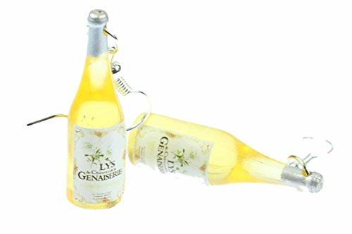 Miniblings Weinflaschen Ohrringe Wein Hänger Weinohrringe Lys Genaisserie gelb - Handmade Modeschmuck I Ohrhänger Ohrschmuck versilbert