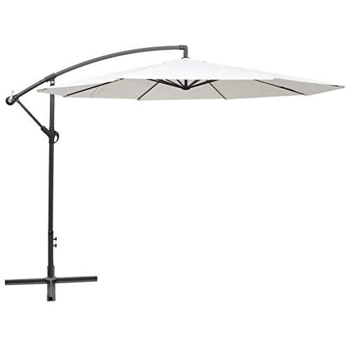 Cikonielf Sombrilla Colgante, Parasol Excéntrico de Jardín con Manivela, Protección Solar UV, Parasol Octogonal para Jardín 350 x 254 cm, Blanco Arena