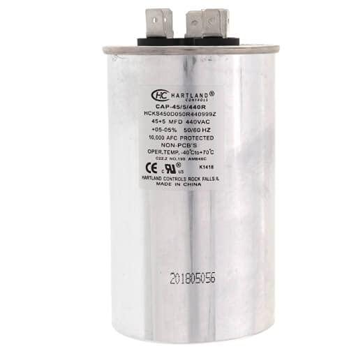 The HVAC Genius 45+5 uf MFD 370/440 Volt Dual Run Round Capacitor 45/5/440R for HVAC, Air conditioners, Pool pumps, and Furnaces