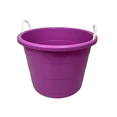 HOMZ Plastic Utility Rope Handle Tub, 17 Gallon (Standard), Orchid, 2 Count