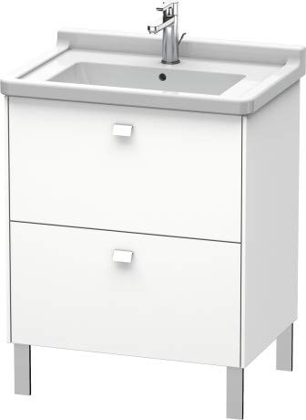 Duravit Brioso Waschtischunterbau stehend Compact 67,0 x 46,9 cm, 2 Auszüge, inkl. Siphonausschnitt und Schürze, für Waschtisch Starck 3 030470, Farbe (Front/Korpus): Lichtblau Matt Dekor, Griff Chrom