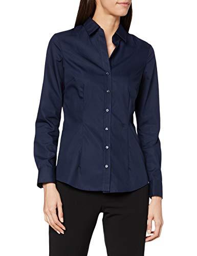 Seidensticker Damen Bluse – Bügelfreie, taillierte Hemdbluse für eine Feminine Silhouette und optimalen Tragekomfort – Langarm – 100% Baumwolle, Azul (Dunkelblau 18), Small para Mujer