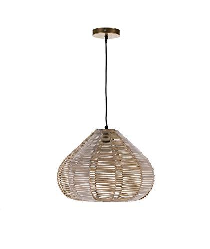 Lámpara de techo de mimbre natural acabado crema. Pendel textil 150cm longitud. 🔥