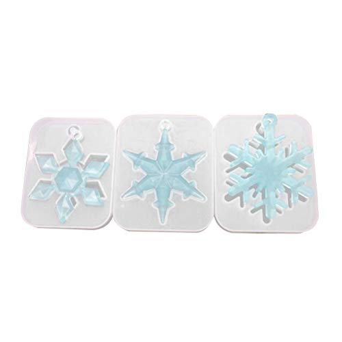 SUPVOX 3pcs Silicone Snowflake Casting Molds Jewelry Pendant Making Molds Kit for DIY Jewelry Craft Making Christmas Props