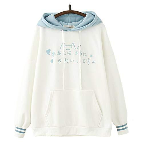 TieNew Kawaii Girls 'Blue Fluffy Japanese Word Text Embroidery Cute Cat Detail Mangas largas Dos Rayas Sudadera con Capucha, Camisa Sencilla con Capucha de Manga Larga Linda