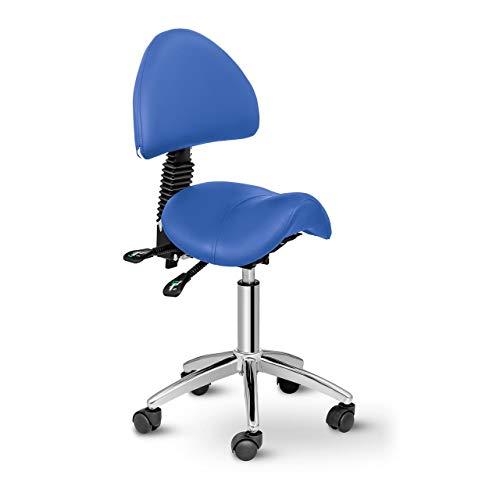 Physa Sattelstuhl mit Rollen ergonomischer Rollstuhl mit Rückenlehne Drehstuhl Arbeitsstuhl Berlin Blue (blau, höhenverstellbar, 360°-drehbar)