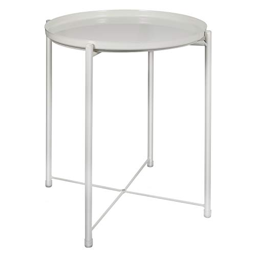 Round Tray End Table, Sofa Table Small Round Side Tables, Tray Metal End Table, Foldable Accent Coffee Table, Anti-Rust and Waterproof Outdoor & Indoor Snack Table - (H) 52 x (D) 40 CM (White)