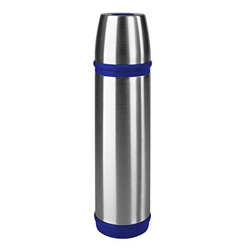 Emsa 502472 Isolierflasche, Mobil genießen, 500 ml, Schraubverschluss, Edelstahl/Blau, Captain