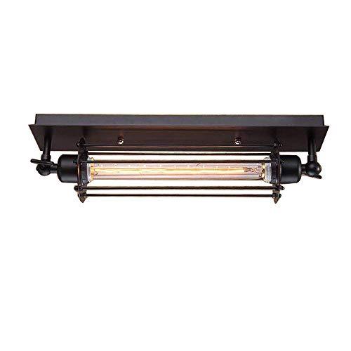 Vintage rustieke ijzeren zwarte plafondlamp, wandlamp, woonkamer, keuken, eetkamer, hal, trap, bar, balkon, mezzanine, spiegellamp, 1 x E27 Edison LED T300 schijnwerper inclusief lamp