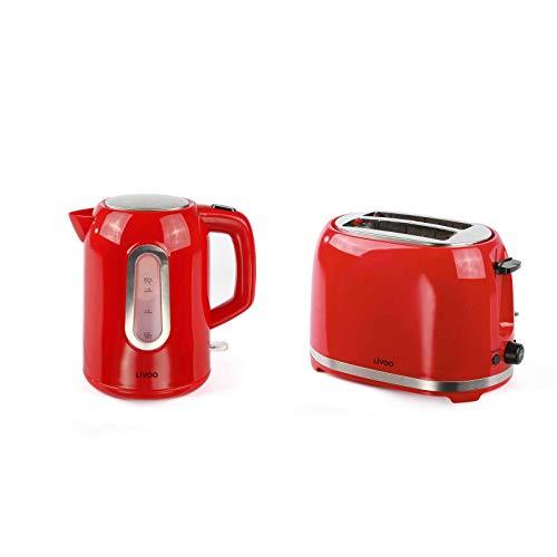 Wasserkocher Kabellos und Toaster Rot Set Frühstücksset (Automatische Abschaltung, Verdecktes Heizelement, 1,7 Liter)