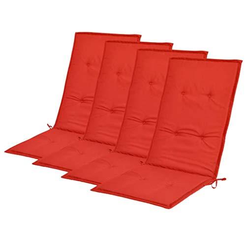 vidaXL 4X Coussins de Chaise de Jardin Coussins de Chaise à Dossier Haut de Patio Extérieur Arrière-Cour Terrasse Imperméable Rouge