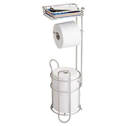 mDesign Portarrollos de papel higiénico con estante – Elegante disp