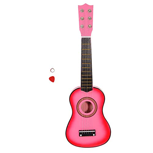 NioEsho 21' Acoustic Guitar, Wood Classical Guitar with Strings and Guitar Pick, Suitable for Beginners and Kids (21' Pink)
