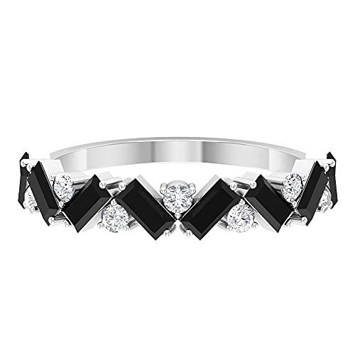 Baguette Anillo de piedras preciosas, anillo de diamante para mujer, oro blanco, Metal precioso. Piedra preciosa. Piedra, Diamante negro creado en laboratorio,