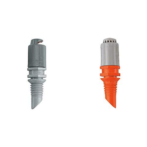 Gardena M39128 - Tobera 1367 pulverizador, color gris 5 unidades + M39127 - Tobera 1365 pulverizador, color gris y naranja, 5 unidades