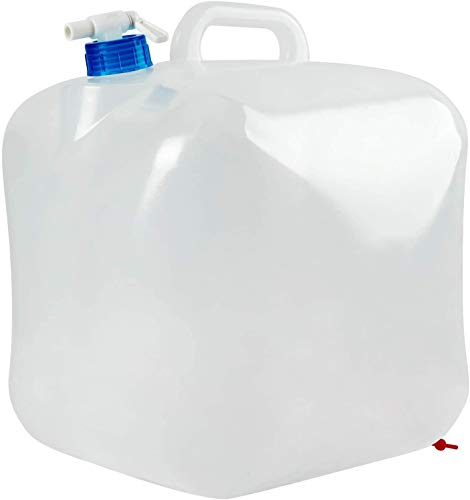 5.3 Gallon Water Container Collapsible with Spigot, Food Grade Clear Plastic Water Storage Carrier Jug Bag, Foldable Water Canteen, Fold a Carrier, Portable Tank No-leak Cube for Outdoor & Indoor